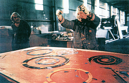 Sam Francis working on a monotype
